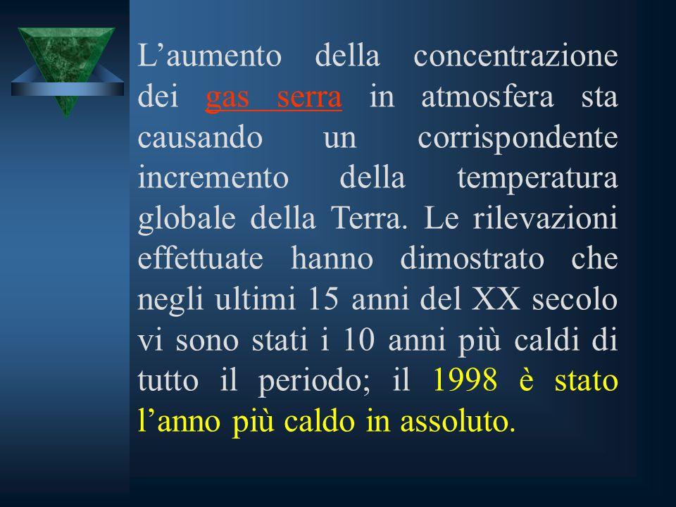 L'aumento della concentrazione dei gas serra in atmosfera sta causando un corrispondente incremento della temperatura globale della Terra.