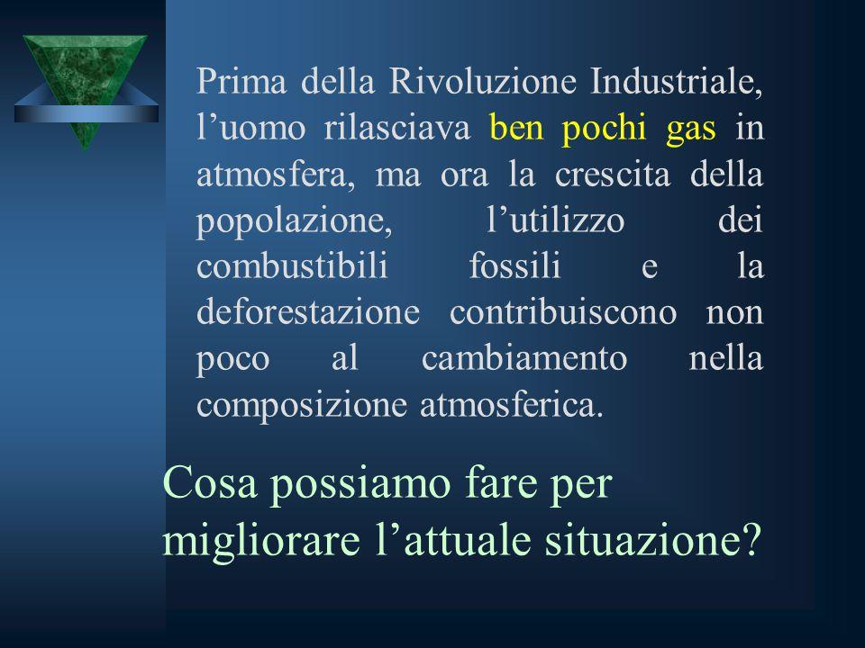 Prima della Rivoluzione Industriale, l'uomo rilasciava ben pochi gas in atmosfera, ma ora la crescita della popolazione, l'utilizzo dei combustibili f