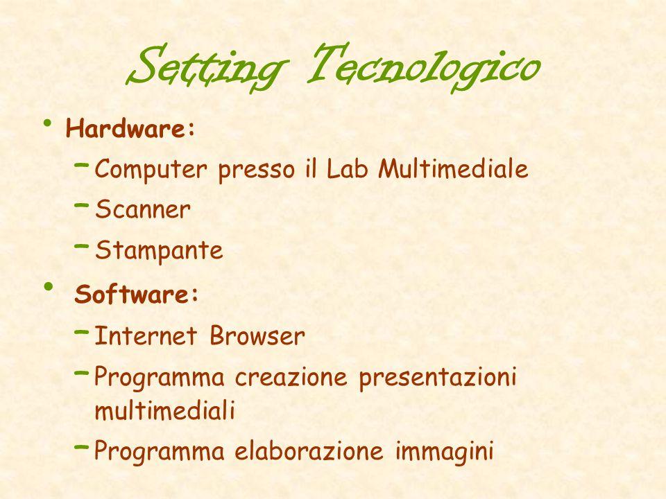 Setting Tecnologico Hardware: – Computer presso il Lab Multimediale – Scanner – Stampante Software: – Internet Browser – Programma creazione presentaz