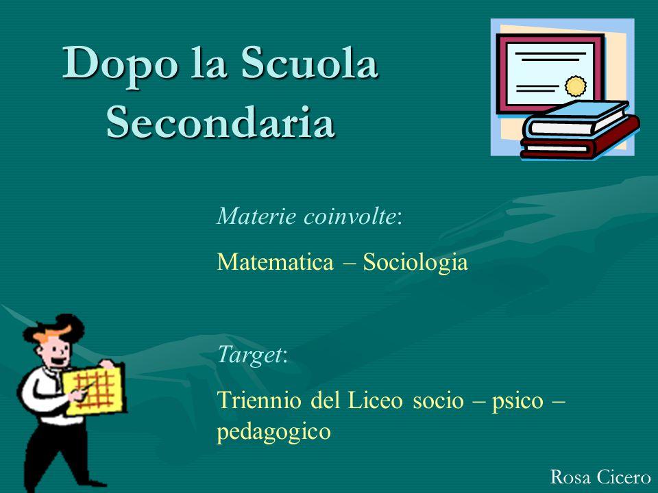 Dopo la Scuola Secondaria Rosa Cicero Materie coinvolte: Matematica – Sociologia Target: Triennio del Liceo socio – psico – pedagogico