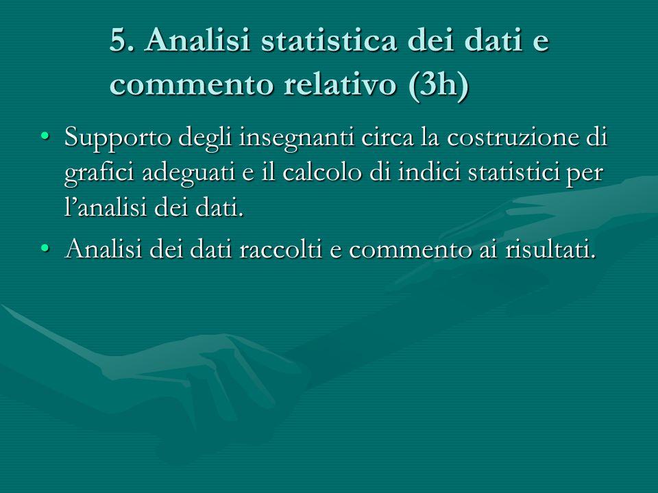 5. Analisi statistica dei dati e commento relativo (3h) Supporto degli insegnanti circa la costruzione di grafici adeguati e il calcolo di indici stat