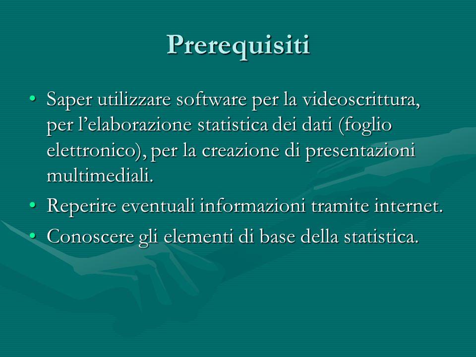 Prerequisiti Saper utilizzare software per la videoscrittura, per l'elaborazione statistica dei dati (foglio elettronico), per la creazione di present