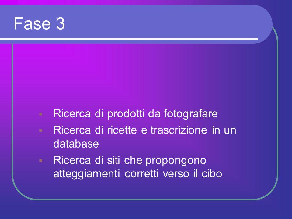 Fase 3  Ricerca di prodotti da fotografare  Ricerca di ricette e trascrizione in un database  Ricerca di siti che propongono atteggiamenti corretti