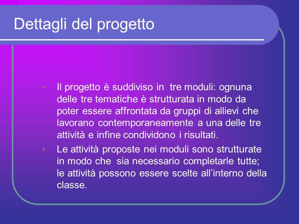 Dettagli del progetto  Il progetto è suddiviso in tre moduli: ognuna delle tre tematiche è strutturata in modo da poter essere affrontata da gruppi d