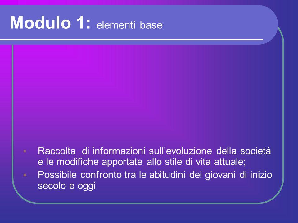 Modulo 1: elementi base  Raccolta di informazioni sull'evoluzione della società e le modifiche apportate allo stile di vita attuale;  Possibile conf