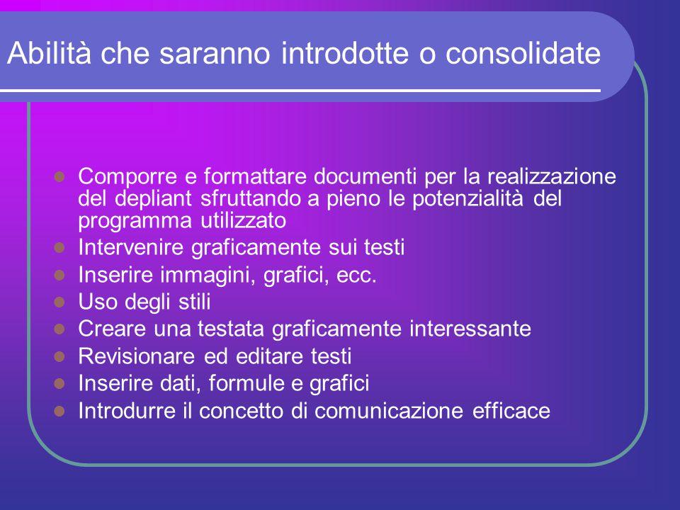 Abilità che saranno introdotte o consolidate Comporre e formattare documenti per la realizzazione del depliant sfruttando a pieno le potenzialità del
