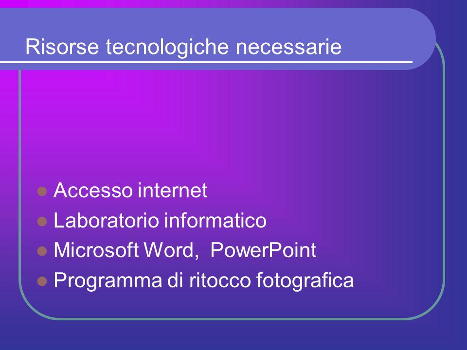 Risorse tecnologiche necessarie Accesso internet Laboratorio informatico Microsoft Word, PowerPoint Programma di ritocco fotografica