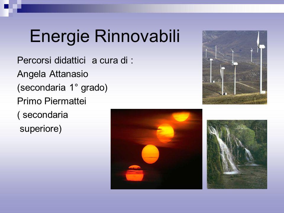 Energie Rinnovabili Percorsi didattici a cura di : Angela Attanasio (secondaria 1° grado) Primo Piermattei ( secondaria superiore)