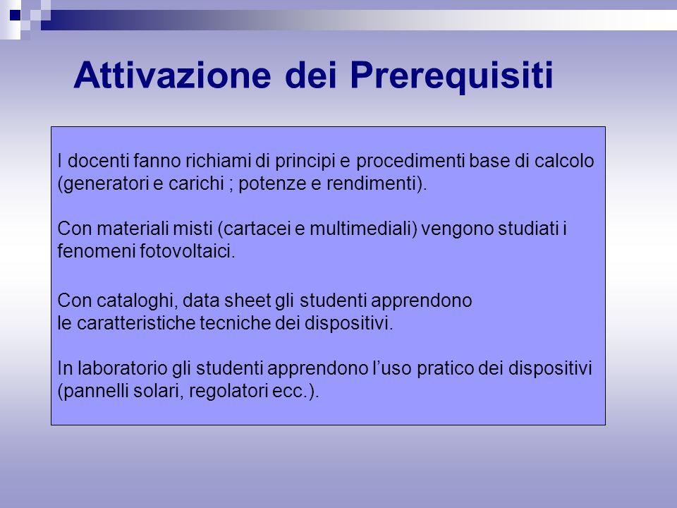 Attivazione dei Prerequisiti I docenti fanno richiami di principi e procedimenti base di calcolo (generatori e carichi ; potenze e rendimenti).