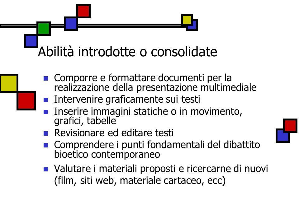 Abilità introdotte o consolidate Comporre e formattare documenti per la realizzazione della presentazione multimediale Intervenire graficamente sui te