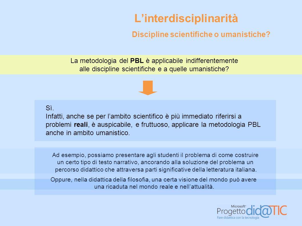 La metodologia del PBL è applicabile indifferentemente alle discipline scientifiche e a quelle umanistiche.