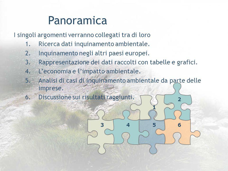 Panoramica I singoli argomenti verranno collegati tra di loro 1.Ricerca dati inquinamento ambientale.