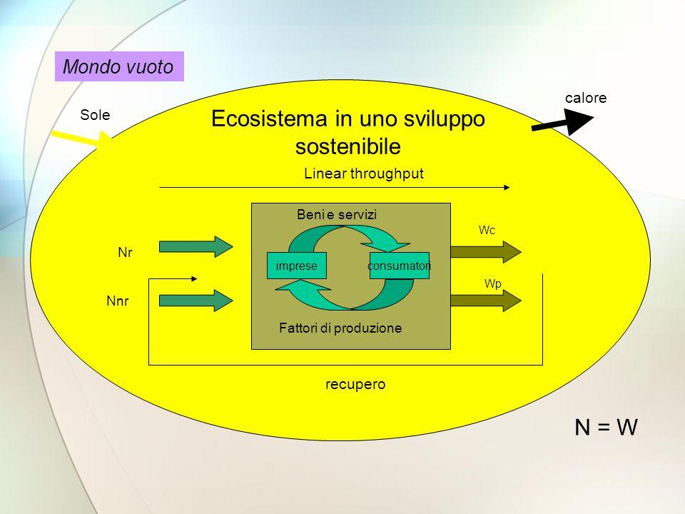 impreseconsumatori Beni e servizi Fattori di produzione Ecosistema in uno sviluppo sostenibile Nr Nnr Wp Wc N = W Mondo vuoto Sole calore Linear throughput recupero