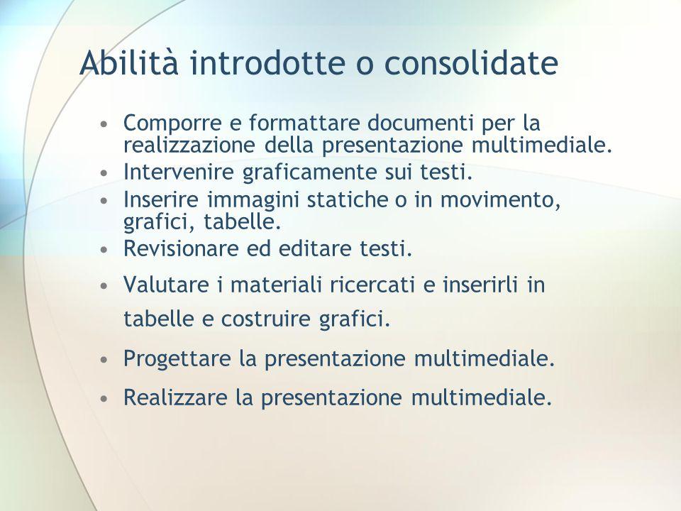 Abilità introdotte o consolidate Comporre e formattare documenti per la realizzazione della presentazione multimediale.