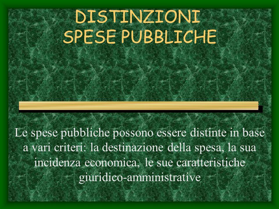 DISTINZIONI SPESE PUBBLICHE Le spese pubbliche possono essere distinte in base a vari criteri: la destinazione della spesa, la sua incidenza economica, le sue caratteristiche giuridico-amministrative