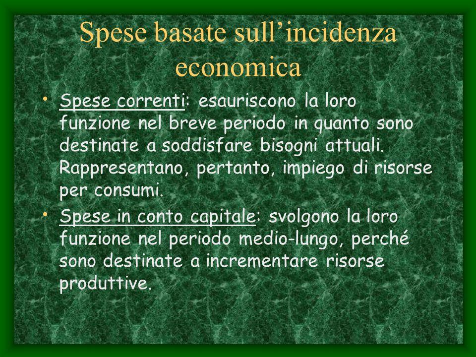 Spese basate sull'incidenza economica Spese correnti: esauriscono la loro funzione nel breve periodo in quanto sono destinate a soddisfare bisogni attuali.