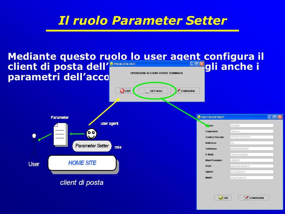 12 di 15 Il ruolo Parameter Setter Mediante questo ruolo lo user agent configura il client di posta dell'utente mostrandogli anche i parametri dell'account sottoscritto client di posta