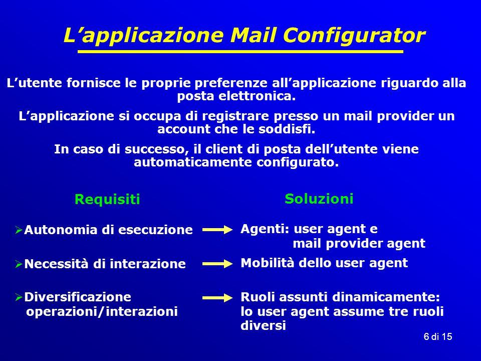 6 di 15 L'applicazione Mail Configurator L'utente fornisce le proprie preferenze all'applicazione riguardo alla posta elettronica.