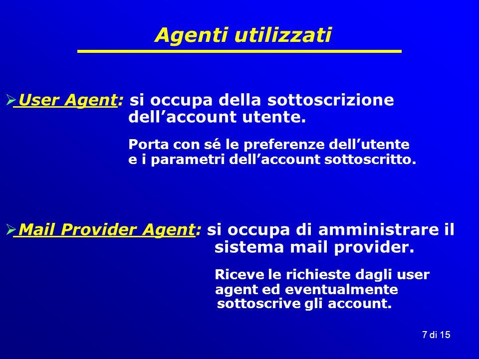7 di 15 Agenti utilizzati  User Agent: si occupa della sottoscrizione dell'account utente.
