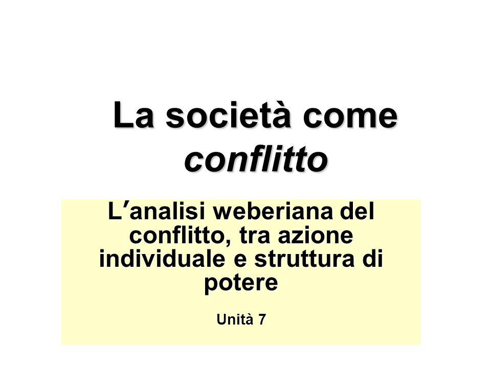 La società come conflitto L'analisi weberiana del conflitto, tra azione individuale e struttura di potere Unità 7