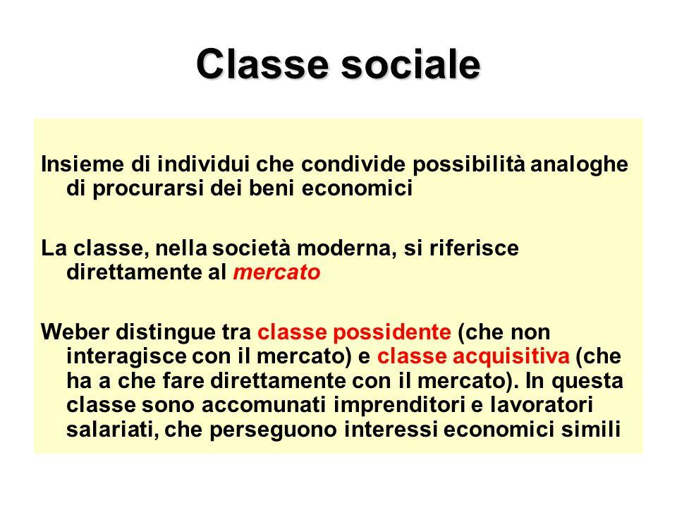 Classe sociale Insieme di individui che condivide possibilità analoghe di procurarsi dei beni economici La classe, nella società moderna, si riferisce