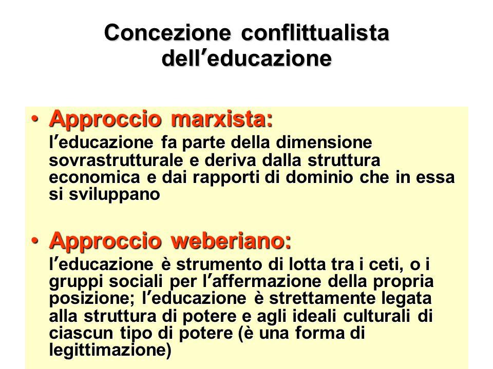 Concezione conflittualista dell'educazione Approccio marxista:Approccio marxista: l'educazione fa parte della dimensione sovrastrutturale e deriva dal