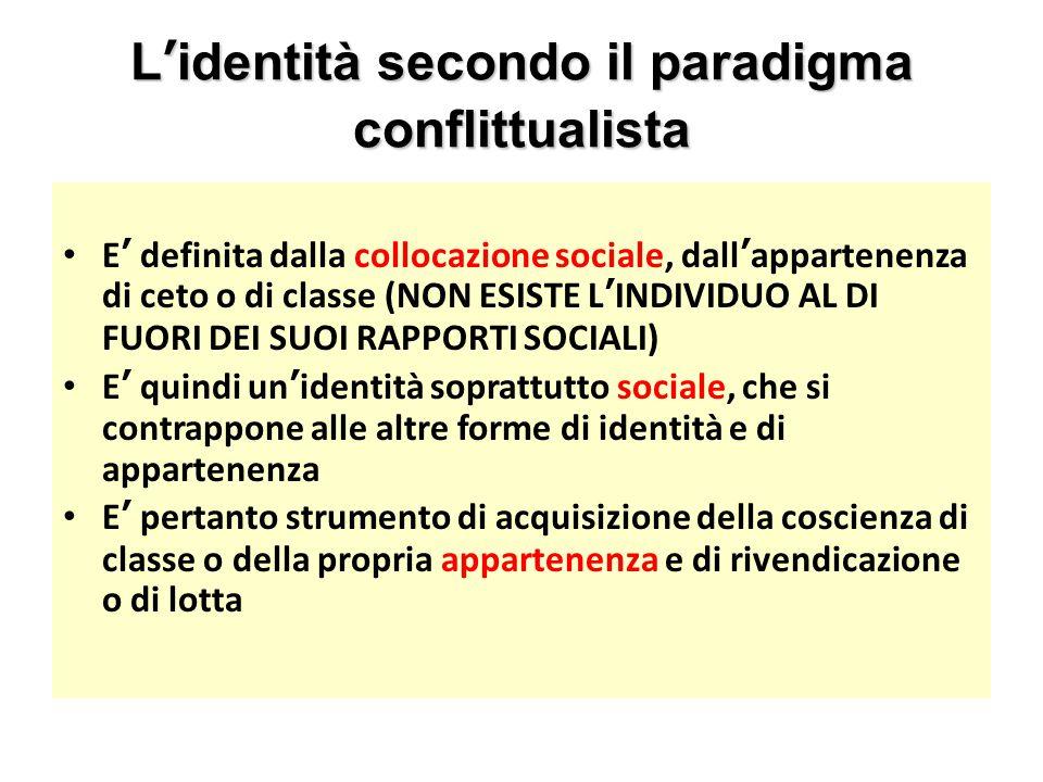 L'identità secondo il paradigma conflittualista E' definita dalla collocazione sociale, dall'appartenenza di ceto o di classe (NON ESISTE L'INDIVIDUO