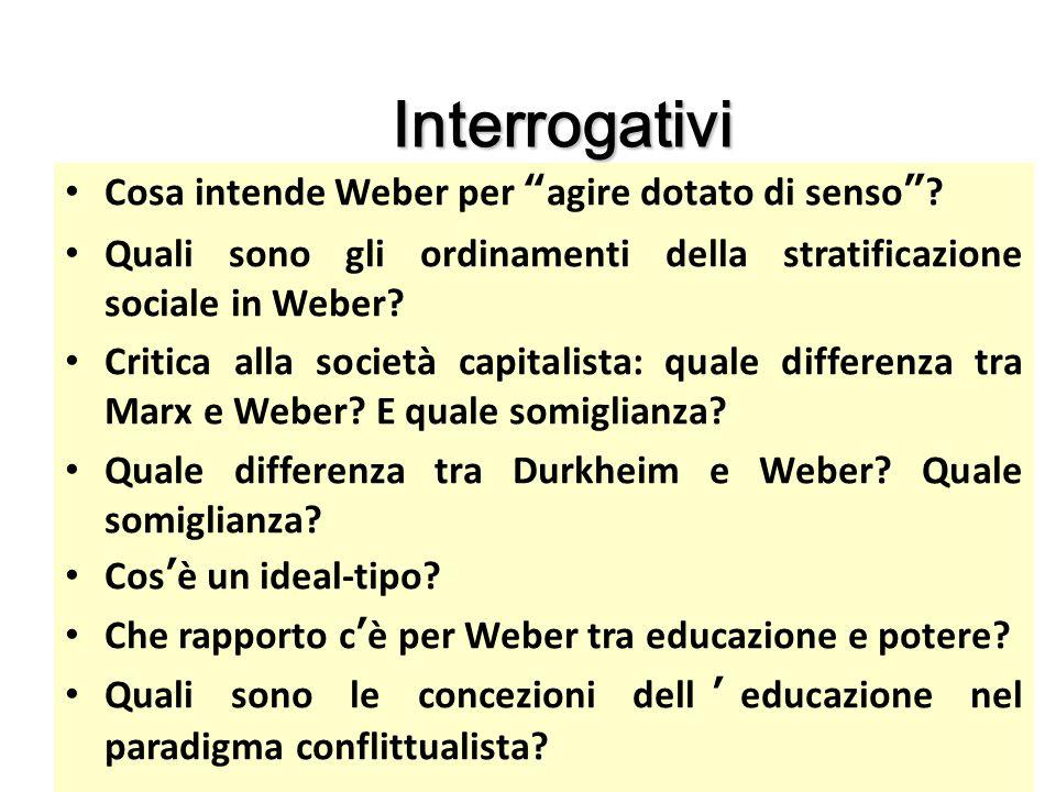 """Interrogativi Cosa intende Weber per """"agire dotato di senso""""? Quali sono gli ordinamenti della stratificazione sociale in Weber? Critica alla società"""