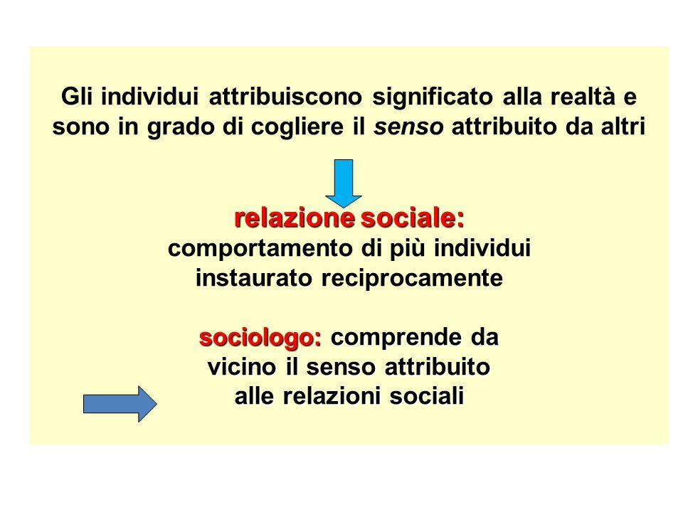 relazione sociale: sociologo: comprende da vicino il senso attribuito alle relazioni sociali Gli individui attribuiscono significato alla realtà e son
