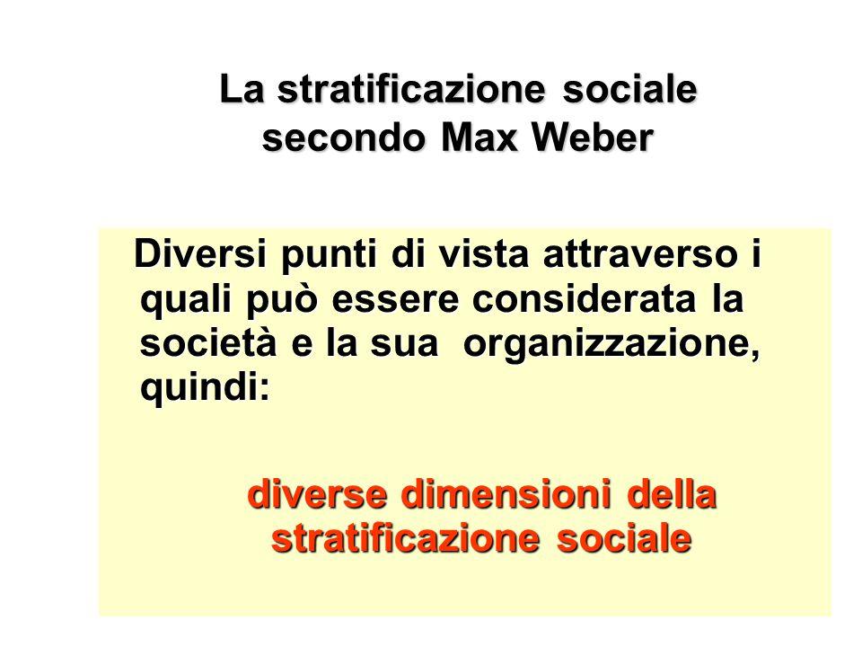 La stratificazione sociale secondo Max Weber Diversi punti di vista attraverso i quali può essere considerata la società e la sua organizzazione, quin