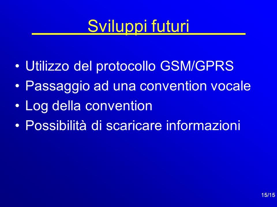 15/15 Sviluppi futuri Utilizzo del protocollo GSM/GPRS Passaggio ad una convention vocale Log della convention Possibilità di scaricare informazioni