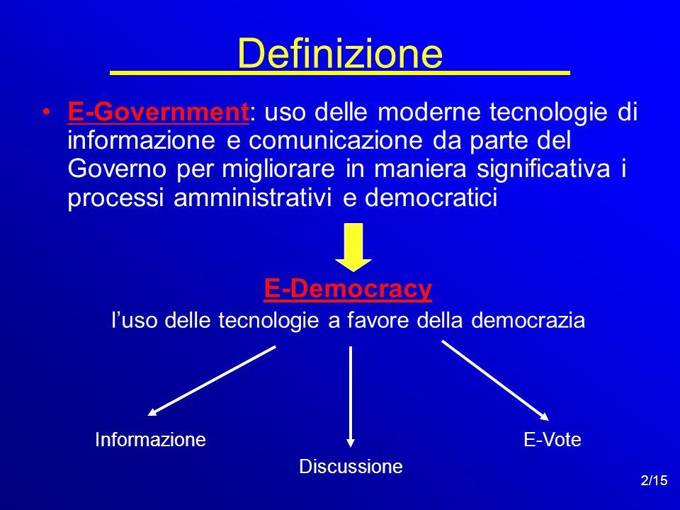 2/15 Definizione E-Government: uso delle moderne tecnologie di informazione e comunicazione da parte del Governo per migliorare in maniera significativa i processi amministrativi e democratici E-Democracy l'uso delle tecnologie a favore della democrazia Informazione Discussione E-Vote