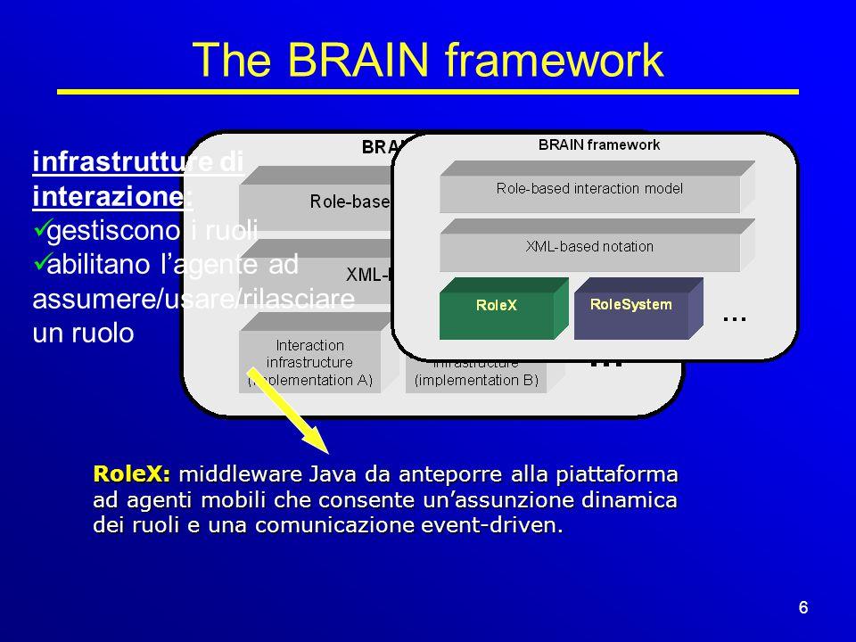 6/15 The BRAIN framework 6 infrastrutture di interazione: gestiscono i ruoli abilitano l'agente ad assumere/usare/rilasciare un ruolo RoleX: middleware Java da anteporre alla piattaforma ad agenti mobili che consente un'assunzione dinamica dei ruoli e una comunicazione event-driven.