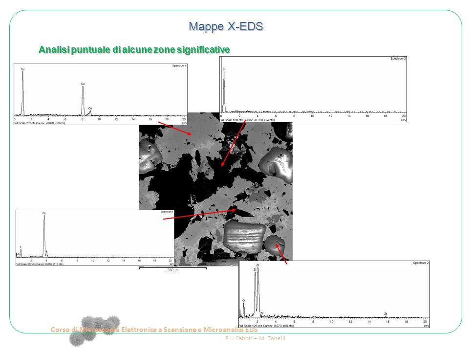 Corso di Microscopia Elettronica a Scansione e Microanalisi EDS P.L. Fabbri – M. Tonelli Mappe X-EDS Analisi puntuale di alcune zone significative
