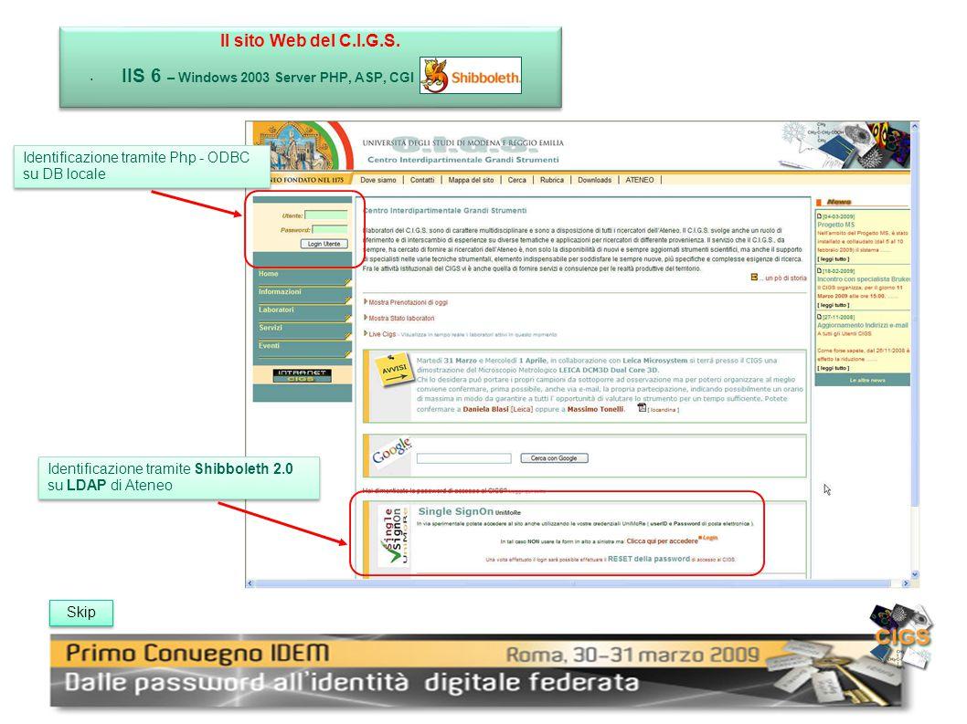 Il sito Web del C.I.G.S. IIS 6 – Windows 2003 Server PHP, ASP, CGI Il sito Web del C.I.G.S.