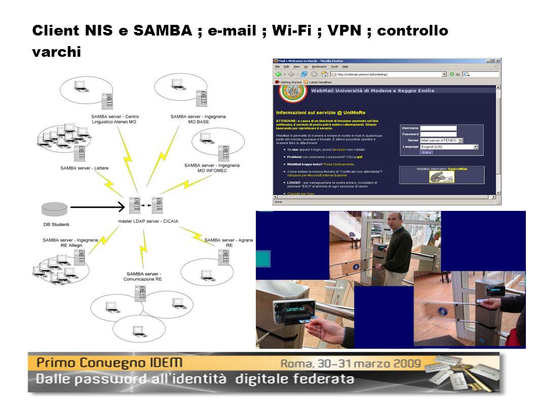 Client NIS e SAMBA ; e-mail ; Wi-Fi ; VPN ; controllo varchi