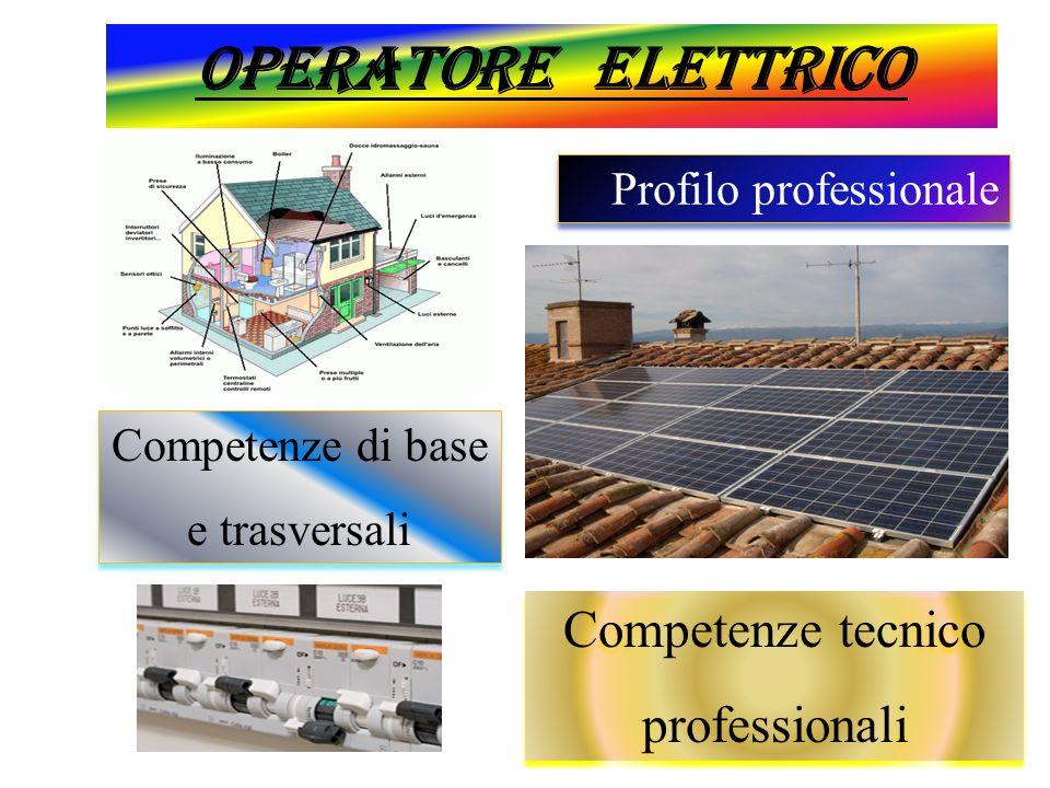 Operatore elettrico Profilo professionale Competenze di base e trasversali Competenze di base e trasversali Competenze tecnico professionali Competenz