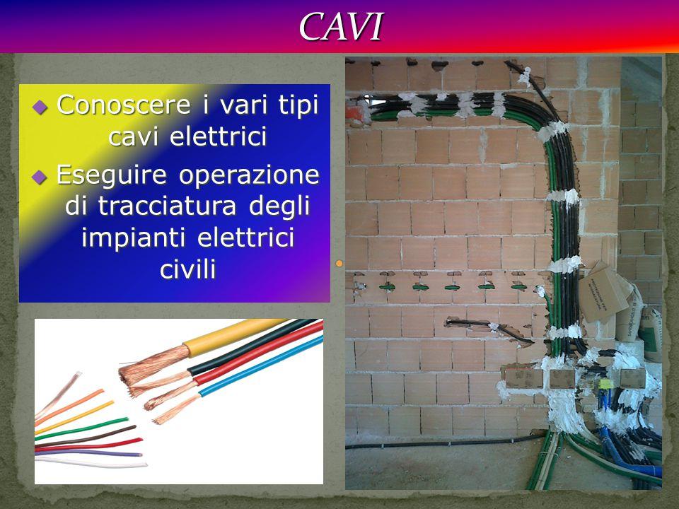  Conoscere i vari tipi cavi elettrici  Eseguire operazione di tracciatura degli impianti elettrici civili