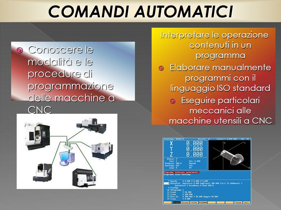  Conoscere le modalità e le procedure di programmazione delle macchine a CNC Interpretare le operazione contenuti in un programma  Elaborare manualm
