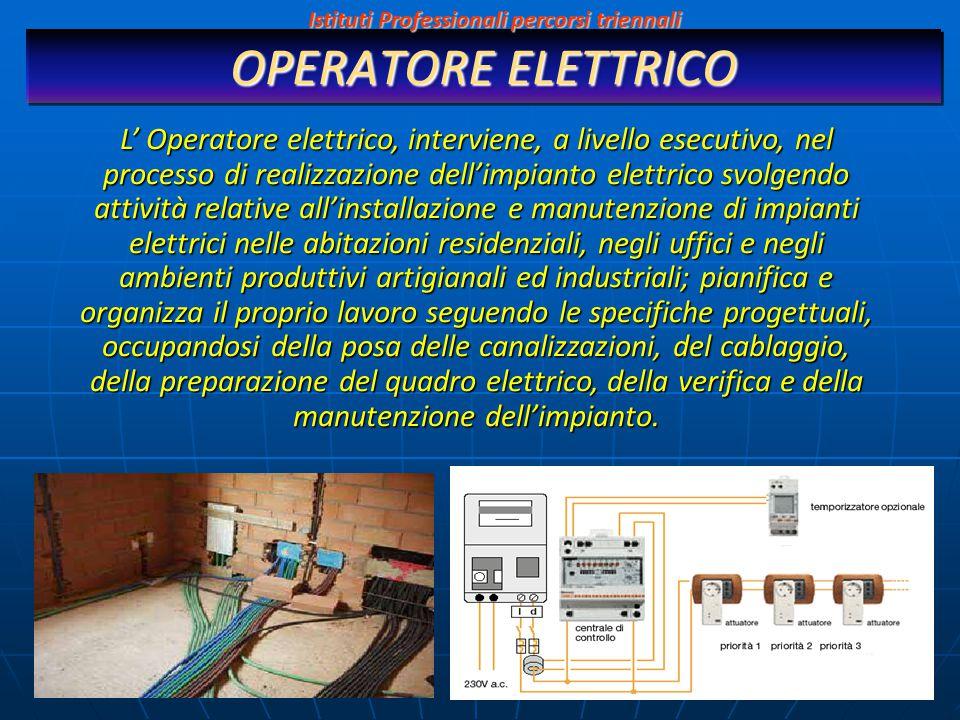 OPERATORE ELETTRICO L' Operatore elettrico, interviene, a livello esecutivo, nel processo di realizzazione dell'impianto elettrico svolgendo attività