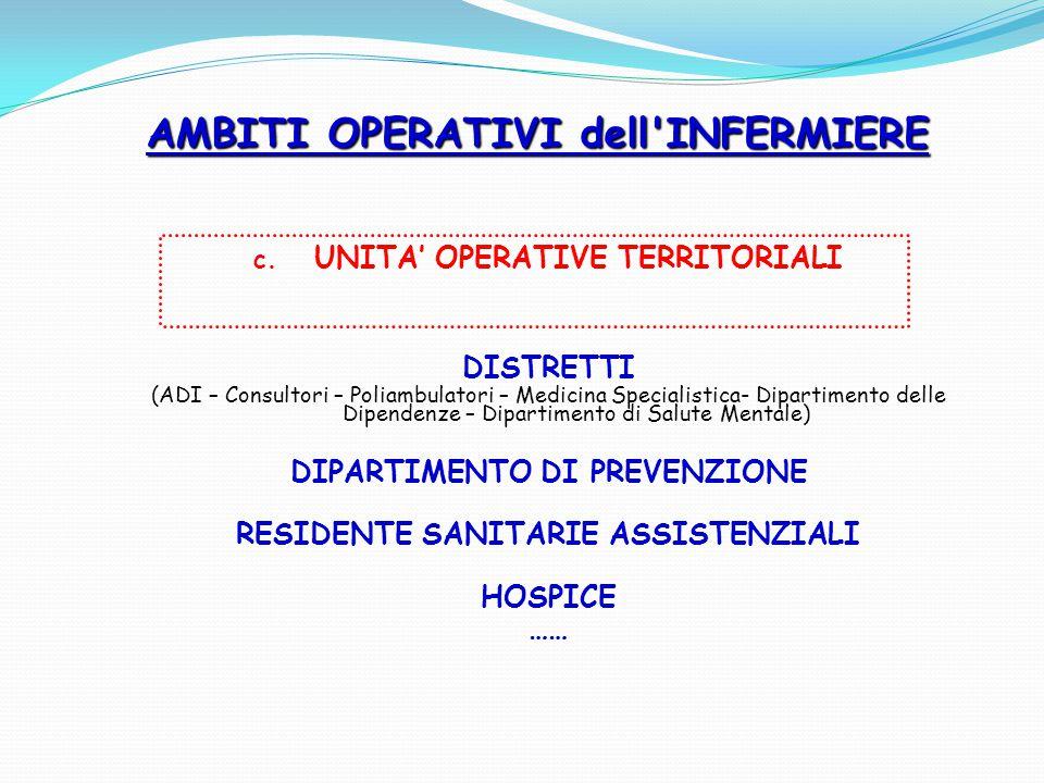 c. UNITA' OPERATIVE TERRITORIALI DISTRETTI (ADI – Consultori – Poliambulatori – Medicina Specialistica- Dipartimento delle Dipendenze – Dipartimento d
