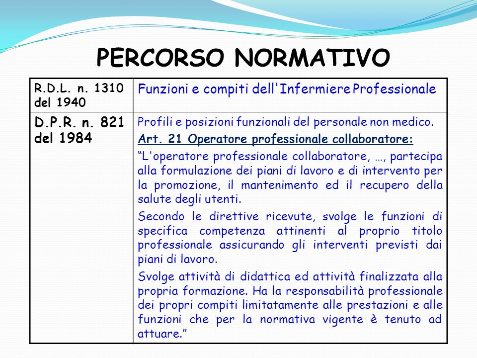 PERCORSO NORMATIVO R.D.L. n. 1310 del 1940 Funzioni e compiti dell'Infermiere Professionale D.P.R. n. 821 del 1984 Profili e posizioni funzionali del