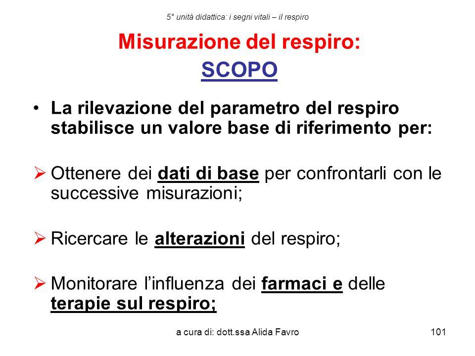 a cura di: dott.ssa Alida Favro101 5° unità didattica: i segni vitali – il respiro Misurazione del respiro: SCOPO La rilevazione del parametro del res
