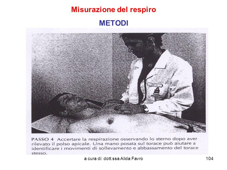 a cura di: dott.ssa Alida Favro104 Misurazione del respiro METODI