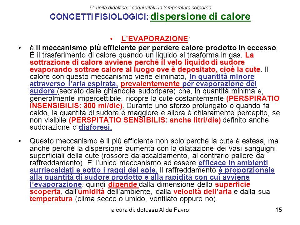 a cura di: dott.ssa Alida Favro15 5° unità didattica: i segni vitali- la temperatura corporea CONCETTI FISIOLOGICI: dispersione di calore L'EVAPORAZIO