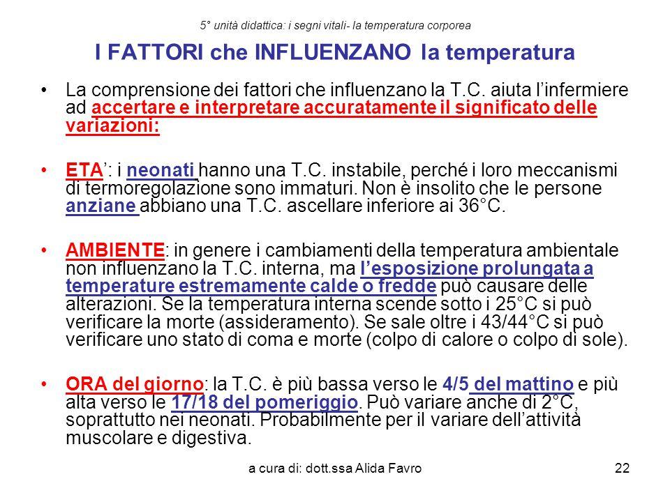 a cura di: dott.ssa Alida Favro22 5° unità didattica: i segni vitali- la temperatura corporea I FATTORI che INFLUENZANO la temperatura La comprensione