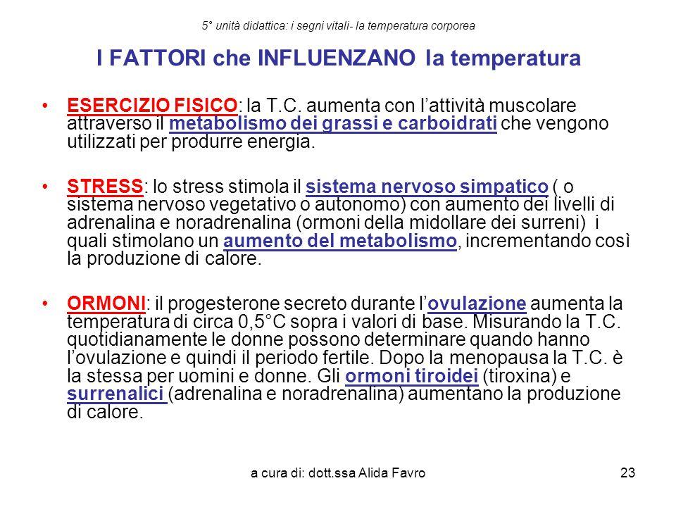 a cura di: dott.ssa Alida Favro23 5° unità didattica: i segni vitali- la temperatura corporea I FATTORI che INFLUENZANO la temperatura ESERCIZIO FISIC