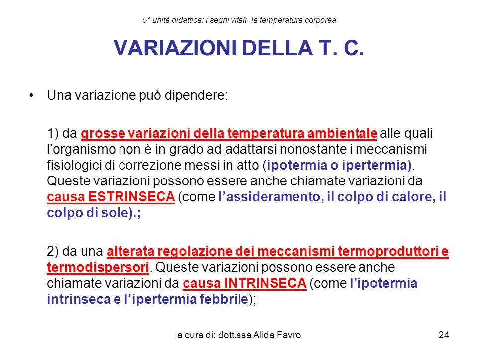 a cura di: dott.ssa Alida Favro24 5° unità didattica: i segni vitali- la temperatura corporea VARIAZIONI DELLA T. C. Una variazione può dipendere: gro