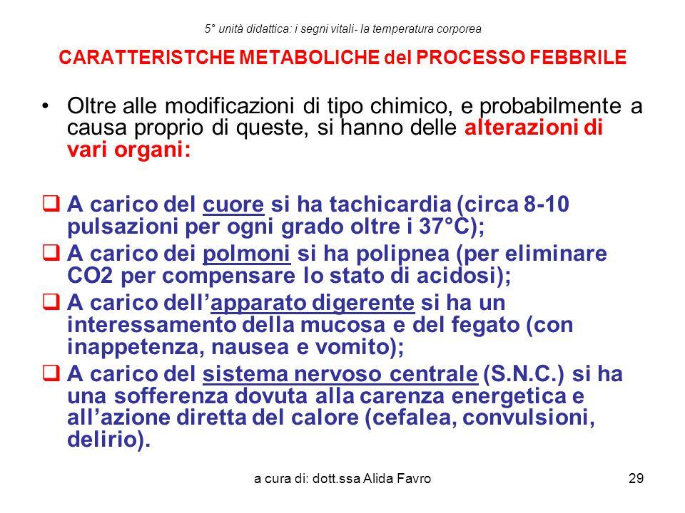 a cura di: dott.ssa Alida Favro29 5° unità didattica: i segni vitali- la temperatura corporea CARATTERISTCHE METABOLICHE del PROCESSO FEBBRILE Oltre a