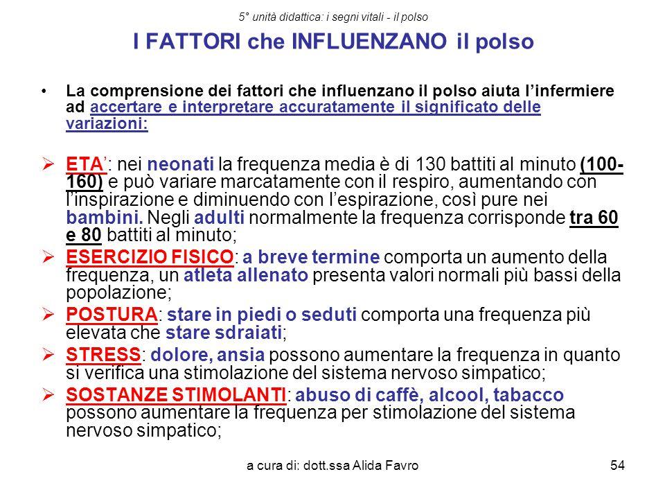 a cura di: dott.ssa Alida Favro54 5° unità didattica: i segni vitali - il polso I FATTORI che INFLUENZANO il polso La comprensione dei fattori che inf